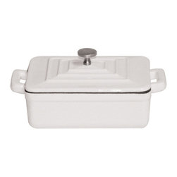 Paderno World Cuisine - Mini 0.375 Quart Rectangular Cast-Iron Lidded Casserole, White - This .375 quart white rectangular cast-iron dutch oven's primary use is to slowly braise or simmer. This miniature version is most commonly used for side dishes and individual servings of stew meats and au gratin potatoes. The ability of the dutch oven to evenly distribute heat makes it perfect for tenderizing any cut of meat for stews or heavy cassoulets. These ovens are easy to clean, durable and compatible with standard stovetops, induction ranges, and conventional ovens. This oven comes with a matching lid to keep in heat and moisture. It has been enameled twice and has a mirror finish. In addition to a primer coat, it has been enameled with a white glossy color.