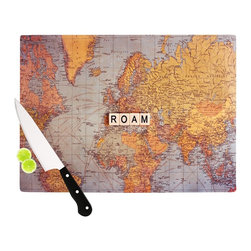 """Kess InHouse - Sylvia Cook """"Roam Map"""" World Cutting Board (11"""" x 7.5"""") - These sturdy tempered glass cutting boards will make everything you chop look like a Dutch painting. Perfect the art of cooking with your KESS InHouse unique art cutting board. Go for patterns or painted, either way this non-skid, dishwasher safe cutting board is perfect for preparing any artistic dinner or serving. Cut, chop, serve or frame, all of these unique cutting boards are gorgeous."""