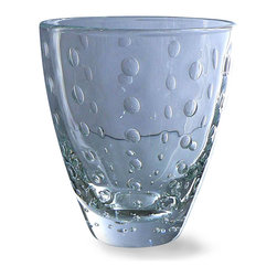 Clear Drops Rocks Glass - Clear - Organically-shaped circles of clear applied glass add a fragile sense of the natural to the Clear Drops Rocks Glass.  A sleek tapered shape makes this short tumbler an elegant, curvaceous addition to the table setting or to your barware lineup, but the raindrop pattern is exquisitely made, another layer of handcrafted beauty to give grace to your entertaining.