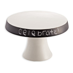 Ceramic Plate Pedestal with Chalkboard Rim - As a small cake stand or simply a clever way to elevate a portion of the spread laid on the sideboard, the simplified shape of the Plate Pedestal with Chalkboard Rim includes a tapered ring of matte black that contributes to a tailored, sleek look and allows space for a short message or description. Add this pared-down accessory to your entertaining stash to enjoy instant uniqueness.