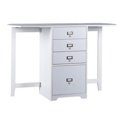 "Holly & Martin - Paige White Fold, Out Organizer & Craft Desk - Whether you need organization in the office, craft room or bedroom this folding organizer desk is a unique space saving solution. With the leafs on each side folded down, this desk is as small as a common end table or file cabinet. Open both sides for a very functional 48"" work area. Three small drawers make room for common items and a lower letter file is perfect for bills and paperwork. Get organized today and have space left over!"