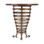 Stanley Furniture - Arrondissement Brasserie Pub Table - Heirloom Cherry Finish - Recreate the iconic French bistro experience in your own home with the Brasserie Pub Table. This whimsical design features a repeating circular metal base topped with a maple inlaid table top. The result? A homey, yet contemporary spot to linger over steak au poivre and pomme frites or simply a glass of Bourgogne Rouge. Made to order in America.