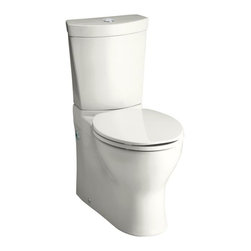 KOHLER - KOHLER K-3654-0 Persuade Two-Piece Elongated Toilet Dual-Flush Toilet - KOHLER K-3654-0 Persuade Two-Piece Elongated Toilet Dual-Flush Toilet with Top Actuator, Less Seat in White