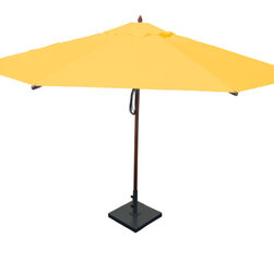 Greencorner - 13' Octagon Mahogany Umbrella, Sunflower Yellow - 13' Octagon