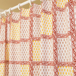 Shower Curtains Red - Our beautiful booti stylized bud(booti) is shown here in alternating classic crimson, our signature dark red, and a bright, elegant yellow with a deep red vine-inspired(bel) floral border creating a magnificent cross-hatch to define the intricate pattern. Hand Block Printed from Attiser