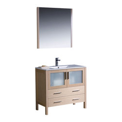 "Fresca - Torino 36"" Light Oak Vanity w/ Integrated Sink Cascata Brushed Nickel Faucet - Fresca is pleased to usher in a new age of customization with the introduction of its Torino line.  The frosted glass panels of the doors balance out the sleek and modern lines of Torino, making it fit perfectly in eithertown or country decor."