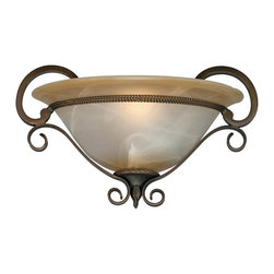 Golden Lighting - Meridian 1-Light Wall Sconce in Golden Bronze - Bulb not included. Traditional style. Requires one 100 watt medium incandescent Type A bulb. Square shaped antique marbled glass. Elegant flat scrolling arms for a unique, handcrafted feel. Used in accent, living and hall room. Black and white wire gage. One E27 type porcelain socket in white. Electric wire gage: 18# +250mm 150 degree C. Maximum wattage: 100W. Total wattage: 100W. UL and CUL certified. UL listed for dry location. Made from metal and glass. Chain length: 6 ft.. Wire length: 8 in.. Fixture extension: 6 in.. Backplate extension: 1 in.. Canopy back plate: 15 in. W x 8.75 in. H. Glass: 13 in. W x 5 in. H. Overall: 15 in. W x 9 in. H. Assembly Instructions. Warranty