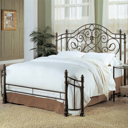 Coaster - Traditional Iron Queen Size Bed in Antique Green - The high headboard features pineapple finials, pretty swirling metal, and a central fleur de lis motif. The wrap around style of the headboard and low profile footboard is stylish, offering you a sophisticated but comfortable look. In a unique antique green metal finish, this classic metal bed will blend easily with your decor, from traditional to more casual bedroom ensembles. Pair with the night stand for a complete bedroom set. A standard bed frame is required (sold separately).