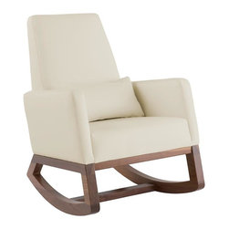 Joya Rocker, Stone - This is the most gorgeous rocking chair out there! I love the sleek modern design and dark wood base. Throw on a bright pillow or throw to add some color.