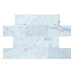 "Mission Stone Tile - Bianco Carrara Marble - 3""x6"" Subway Tile, Polished - Sold by the piece"