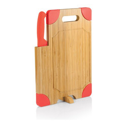 Picnic time - Culina Bamboo Board With Red Silicone Accents and Knife - Cutting board with silicone corners, swivel stand, recessed juice groove, and large powder-coated carving knife.