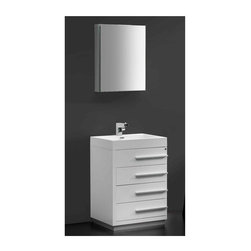 """Fresca - Livello Bathroom Vanity w Medicine Cabinet (Bevera Chrome) - Choose Included Faucet: Bevera ChromeSingle Hole Faucet Mount (Faucet Shown In Picture May No Longer Be Available So Please Check Compatible Faucet List). Soft Closing Drawers. P-trap, Faucet, Pop-Up Drain and Installation Hardware Included. With overflow. Sink Color: White. Finish: White. Sink Dimensions: 20.25 in. x13 in. x3.75 in. . Medicine Cabinet: 19.5 in. W x 26 in. H x 5 in. D. Materials: MDF with Acrylic Countertop/Sink with Overflow. Vanity: 23.38 in. W x 18.63 in. D x 33.5 in. HThe Livello 24"""" vanity features four pull out drawers that come equipped with slow closing hinges. Its sink is made with a durable acrylic material that is less likely to break then tradition ceramic, it also cleans better. This vanity's minimal design will make your bathroom feel like a modern oasis."""