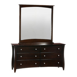 Night And Day Furniture - Night And Day Furniture Clove Mirror For 6 Drawer Dresser In Chocolate Finish - Clove Mirror is made to sit on top of the Clove 6 Drwaer Dresser.