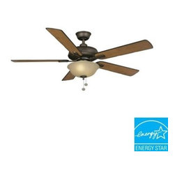 Hampton Bay - Indoor Ceiling Light with Fan: Hampton Bay Larson 52 in. Oil-Rubbed Bronze Ceili - Shop for Lighting & Fans at The Home Depot. The 3 operating speeds and reverse-airflow function of the Hampton Bay Larson 52 in. Oil-Rubbed Bronze Ceiling Fan provide the versatility you need to create a comfortable interior. The fan is Energy Star qualified for year-round energy and money savings and features an elegant oil-rubbed bronze finish and an amber bowl light kit that produces a beautiful lighting effect. This fan is Energy Star rated for efficient energy savings all year round.