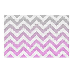 DiaNoche Designs - Area Rug by Monika Strigel - Chevron Pink Grey - Finish off your bedroom or living space with a woven Area Rug with Chevron pattern  from DiaNoche Designs. The last true accent in your home decor that really ties the room together. Maybe its a subtle rug for your entry way, or a conversation piece in your living area, your floor art will continue to dazzle for many years. 1/4 thick. Each rug is machine loomed, washed and pre-shrunk, printed, then hemmed on the edges.   Spot treat with warm water or professionally clean. Dye Sublimation printing adheres the ink to the material for long life and durability