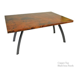 """Mathews & Company - Chanal Rectangle Table with 72"""" x 42"""" Top - The Chanal Rectangle Dining Table features a modern style wrought iron base available in 4 custom finish options and a 72 x 42 inch Copper or Zinc table top. Pictured in Copper top and Black finish."""