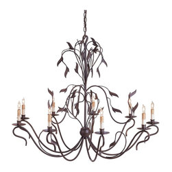 "Currey and Company - Arcadia Chandelier, Large - The lightness and delicacy of this open chandelier give it an exceptional, unexpected look. The naturalistic leaves add to the airy design as they ""blow in the wind.?"