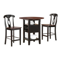 Homelegance - Homelegance Atwood 3-Piece Drop Leaf Counter Height Dining Room Set - At home in a kitchen nook or home bar, the Atwood collection is an useful addition to any home. The 3-Piece table group features a dropleaf table top, wine storage, and Napoleon back chairs. Available in black and rich espresso two-tone finish.