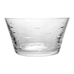 Rolf Glass - School of Fish Clear Small Bowl 6, Set of 4 - Fill them with cherries or grapes, peanuts or pretzels, these clear glass bowls will make whatever you're serving look absolutely appealing. A school of artfully etched fish swims across every surface.