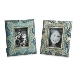 """IMAX - Haani Hand Painted Frames - Set of 2 - This set of hand painted frames feature beautiful jewel toned patterns and are a globally inspired eclectic terracotta accent to any cherished photo. Item Dimensions: (7-13""""h x 5-11""""w x 1"""")"""