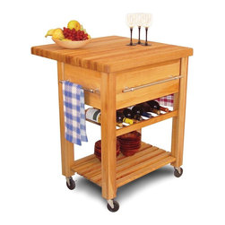 Catskill Craftsmen - Baby Grand Workcenter w Drop Leaf, Wine Rack - This versatile work station will easily transform your kitchen into a fabulous and functional space. It features a center wine rack and a lower shelf for storage, as well as a drop leaf top for an expanded work surface. The unit is made of hardwoods in oil finish. Made of US hardwood. Wine rack clearance: 6 in.. 1.75 in. Thick butcher block top that is safe for food preparation. Large capacity 9 in. deep drawer. 3 Chrome towel bars. 2 Locking caster wheels. Wine rack conveniently holds up to 6 bottles. Slatted lower shelf provides extra storage. Overall: 29 in. L x 29 in. W x 35 in. H (105 lbs.). Table top with drop leaf up: 29 in. L x 29 in. W x 1.75 in. H. Table top with drop leaf down: 19 in. L x 29 in. W x 1.75 in. H. Interior drawer: 17 in. L x 19.63 in. W x 8 in. H. Bottom shelf clearance: 17.125 in. L x 25.75 in. W x 11.375 in. HThe offspring of the Grand Workcenter provides the same rugged construction while being sized to complement smaller work areas.