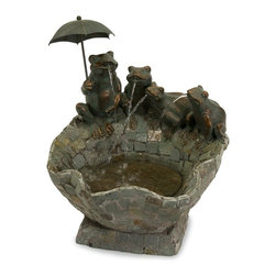 IMAX CORPORATION - Slate Pond and Spitting Frogs Fountain - There's more than a touch of whimsy in this cute Spitting Frog Fountain sized for tabletop and for smiles. Accented with an umbrella, the Slate Pond and Frogs Fountain!. Find home furnishings, decor, and accessories from Posh Urban Furnishings. Beautiful, stylish furniture and decor that will brighten your home instantly. Shop modern, traditional, vintage, and world designs.