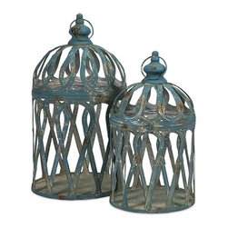 iMax - Jennifer Bird Cages, Set of 2 - With antiqued blue finish, our Jennifer Bird Cages are expertly crafted from iron and exude a classic charm. Whether used as a home accent, or for your feathered friend, these cages aren't just for the birds.