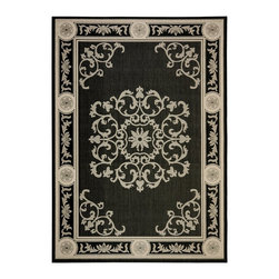 "Safavieh - Courtyard Black/Yellow Area Rug CY2914-3908 - 7'10"" x 7'10"" Square - Safavieh takes classic beauty outside of the home with the launch of their Courtyard Collection. Made in Belgium with enhanced polypropylene for extra durability, these rugs are suitable for anywhere inside or outside of the house. To achieve more intrica."