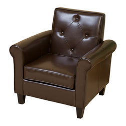 Great Deal Furniture - Johhansen Modern Brown Leather Club Chair - Johhansen petite leather club chair creates great comfort and style without taking up a lot of room in your living room, office, or bedroom. Unique squared back design with tufted button accents and rounded arms create a classic look that compliments the rich brown leather.