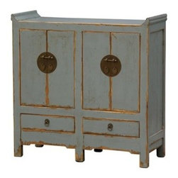 Four Hands - Four Hands Zhang 43 x 17 Light Blue Small Cabinet 4 Door With 2 Drawer - Representing the best of Chinese antique reproductions each piece in the Zhang Collection preserves venerable patterns and exotic frames that have been adapted into multi-functional accent items for today's household needs. Hand-painted and distressed each of these designs is constructed using woods reclaimed from demolished buildings married with traditional Chinese joinery. Crackled painted finishes and layers of lacquer impart an authentically aged feel.At Four Hands sparking your imagination is their passion. To do it they provide exclusive access to more than 40 furniture collections — including designers and brands such as Bina Van Thiel and their own Four Hands furnishings. They never stop innovating to transform interiors. Their designers travel the world in search of inspiration. They offer a creative juxtaposition of styles that mix and match effortlessly. Reclaimed woods natural materials and touchable textures offer laid-back luxury for everyday living. With more than 1300 furniture pieces and more than 600 items introduced each year they always have something new in store for you. At Four Hands they seek authentic materials that celebrate the passage of time reverence former uses and reveal past histories. They find clever ways to re-use found materials or re-purpose otherwise overlooked resources from around the world. They love creating furniture that tells a story. With their pieces we hope you'll tell one of your own.