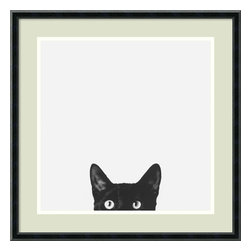 Amanti Art - Curiosity Framed Print by Jon Bertelli - There is nothing more mystifying than the behavior of a feline companion. One minute they are content, the next there is a sudden need to immediately vacate the room. Catch the sardonic nature of the cat with a print that captures it perfectly. Custom framed and ready to hang, this inquisitive kitty will add a playful element to your walls.