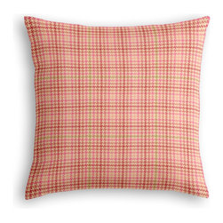 Pink Houndstooth Custom Throw Pillow - The every-style accent pillow: this Simple Throw Pillow works in any space.  Perfectly cut to be extra fluffy, you'll not only love admiring it from afar but snuggling up to it too!  We love it in this bubble gum pink & lime green classic houndstooth so cute it will give you a sweet tooth.