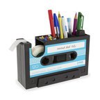 j-me designs - Rewind Desk Tidy, Aqua - Rewind back the years with the Rewind Desk Tidy. The Rewind Desk Tidy is a cool and stylish cassette tape tidy for your desk. It offers storage for up to thirty (30) of your pens and pencils as well as storage for your small stationary items. The desk tidy doubles as a sticky tape dispenser and comes with one (1) included tape roll.