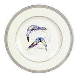 Caroline's Treasures - Rainbow Shrimp Ceramic Dinner Plate Round Platinum Rim - Heavy Round Ceramic Plate with Platinum Rim 10 1/2  inches.  LEAD FREE and diswasher safe.  The plate has been refired over 1600 degrees and the artwork will not fade or crack. Made by Caroline's Treasure in Mobile, AL