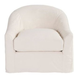 Lenoir Swivel Chair Slipcover - The inviting shape of this chair would contrast nicely with a modern, clean-lined sofa.