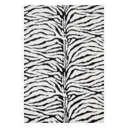 """Loloi Rugs - Loloi Rugs Danso Collection - Zebra, 5' x 7'-6"""" - Chic safari animal prints are reinterpreted into ultra soft faux fur rugs in the Danso Collection. Made in China of 100% poly-acrylic, Danso's rich solids or cheetah, zebra, and tiger patterns are available in trend right colors that set these rugs ahead of the pack."""