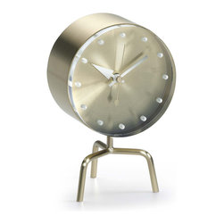 Vitra - Vitra Nelson TriPod Desk Clock - Keep time with this shapely three-legged clock, a George Nelson original. This brass ticker will bring iconic midcentury modern design to life on your desk, keeping you in step with this time, and in line with the stylish past.