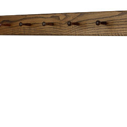"PegandRail - Solid Oak Shaker Peg Rack 4.5"" Extra Wide - Hand Crafted in the USA, Walnut, 58"" - Made in The USA"