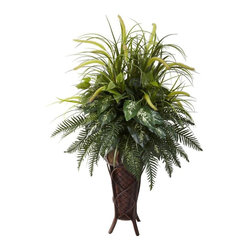 Nearly Natural - Mixed Greens and Cattails Silk Plant - Includes decorative stand planter. Multiple leaves and textures. Perfect for home or office. Made from silk. Green color. Planter: 12 in. W x 12 in. D x 22 in. H. Overall: 34 in. L x 32 in. W x 50 in. HAn explosion of lush greenery in a beautiful stand planter - that's really the only way we can describe this cornucopia of spring and summer delights. Featuring an array of shapes and textures, this mixture of leaves, sprigs and stems is punctuated by the cattails that cascade upward, creating a fresh look that will remain beautiful with nary a drop of water.