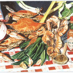 Caroline's Treasures - Crab Boil Kitchen or Bath Mat 24x36 - Kitchen or Bath COMFORT FLOOR MAT This mat is 24 inch by 36 inch.  Comfort Mat / Carpet / Rug that is Made and Printed in the USA. A foam cushion is attached to the bottom of the mat for comfort when standing. The mat has been permenantly dyed for moderate traffic. Durable and fade resistant. The back of the mat is rubber backed to keep the mat from slipping on a smooth floor. Use pressure and water from garden hose or power washer to clean the mat.  Vacuuming only with the hard wood floor setting, as to not pull up the knap of the felt.   Avoid soap or cleaner that produces suds when cleaning.  It will be difficult to get the suds out of the mat.
