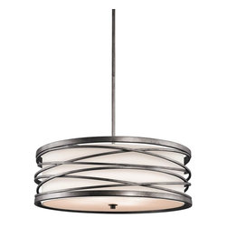 Kichler - Kichler Krasi 4-Light Warm Bronze Drum Shade Pendant - 42465WMZ - This 4-Light Drum Shade Pendant is part of the Krasi Collection and has a Warm Bronze Finish.
