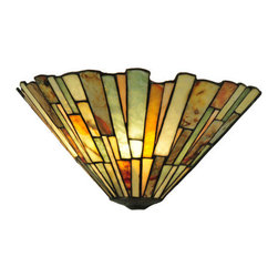 "Meyda Tiffany - Meyda 13""W Jadestone Delta Wall Sconce - Thinly carved and polished natural Jadestone in earthy tones of Moss Green, Tan, Ivory and Coral, becomes luminescent in this unique, tile patterned wall sconce. The stone shade is crafted with the same copper foil process that is used on stained glass, Tiffany style shades."