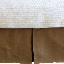 Linen Voile Tobacco Pleated Queen Bed Skirt