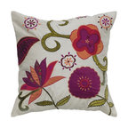 Rizzy Home - Rizzy Home Ivory and Raspberry Flowers Decorative Throw Pillow Ivory White - T04 - Shop for Pillows from Hayneedle.com! Create a textural garden on your sofa with the Rizzy Home Ivory and Raspberry Flowers Decorative Throw Pillow. This colorful beauty has a polyester slub cover with natural texture. Its appliqued and embroidered flower design includes vivid raspberry tangy orange and fresh green against a sea of ivory. This pillow has a hidden zipper and removable polyester insert. Spot clean only.About Rizzy HomeRizwan Ansari and his brother Shamsu come from a family of rug artisans in India. Their design color and production skills have been passed from generation to generation. Known for meticulously crafted handmade wool rugs and quality textiles the Ansari family has built a flourishing home-fashion business from state-of-the-art facilities in India. In 2007 they established a rug-and-textiles distribution center in Calhoun Georgia. With more than 100 000 square feet of warehouse space the U.S. facility allows the company to further build on its reputation for excellence artistry and innovation. Their products include a wide selection of handmade and machine-made rugs as well as designer bed linens duvet sets quilts decorative pillows table linens and more. The family business prides itself on outstanding customer service a variety of price points and an array of designs and weaving techniques.