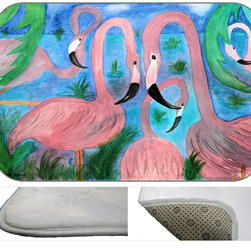 Flamingo Party Plush Bath Mat, 20X15 - Bath mats from my original art and designs. Super soft plush fabric with a non skid backing. Eco friendly water base dyes that will not fade or alter the texture of the fabric. Washable 100 % polyester and mold resistant. Great for the bath room or anywhere in the home. At 1/2 inch thick our mats are softer and more plush than the typical comfort mats.Your toes will love you.