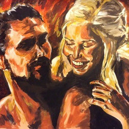 Game Of Thrones (Original) by Michelle Nadeau - Khal Drogo and Daenerys Targaryen in the good 'ol days of Season 1. I loved these two together. She was his moon and stars. And now they will be together forever in this glorious painting! This piece is HUGE, and the colors blend so well together. a definite piece for any fan of GoT.