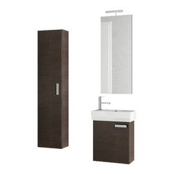 ACF - 18 Inch Wenge Bathroom Vanity Set - This single person bathroom vanity is perfect for your contemporary guest bathroom.