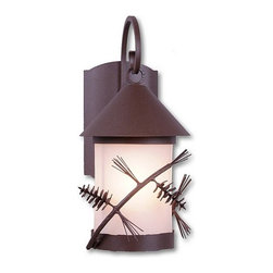 Avalanche-Ranch - Pine Cone Art: Vista Lantern Sconce - Rustic Wall Lights - Indoor + Outdoor with Pine Cone artwork - Takes (1) 100W Medium bulb(s)