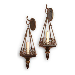 Kathy Kuo Home - Pair Cap Serrat Wood and Iron Scroll Italianate Sconce - Line your hallway, frame your bed or add drama to your dining room with these elaborate scrolled sconces. They give off so much more attitude than a simple wall- mounted light.
