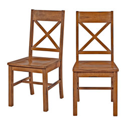 Walker Edison - Antique Brown Wood Dining Chairs, Set of 2 - These charming wood dining chairs are an irresistible addition to any dining room, kitchen, or sitting area. The antiqued finish and purposeful distressing create a warm, rustic feel. Constructed of solid wood and high-grade MDF, these chairs provide comfort and stability.